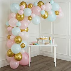 Mini Balloons, Blue Balloons, Baby Shower Balloons, Pink And Gold Birthday Party, Blue Birthday Parties, Blue Party, White Party Decorations, Birthday Party Decorations, Birthday Ideas