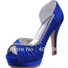 Free shipping Royal Blue Heel for Women Peep Toe Double Platforms High Heel Rhinestone Satin Wedding Bridal Evening Shoes Pumps $62.95