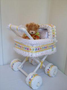 Windel Kinderwagen – Baby Diy – Presents for girls Fiesta Baby Shower, Baby Shower Fun, Baby Shower Parties, Baby Shower Themes, Baby Showers, Shower Ideas, Baby Shower Crafts, Baby Crafts, Shower Gifts