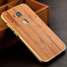 Huawei G8 Metal Bumper Frame + Wood Motif PC Back Case