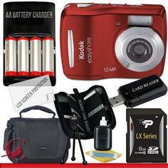 Kodak Easyshare C1505 12 MP Digital Camera with 5x Digital Zoom (Red) 8GB Package 1 by Kodak. $86.58. Package Contents:  1- Kodak Easyshare C1505 12 MP Digital Camera with 5x Digital Zoom - Red w/ All Supplied Accessories 1- 8GB SDHC Class 10 Memory Card   1- USB Memory Card Reader  1- 4x AA Rechargeable Batteries & Rapid Ac/Dc Charger Kit  1- Weather Resistant Carrying Case w/Strap  1- Pack of LCD Screen Protectors  1- Camera & Lens Cleaning Kit System  1- Mini Flexible Tabl...