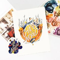 """""""No matter what people tell you, words and ideas can change the world."""" - Robin Williams  Go Beyond sticker is from the """"A Year of Positivity"""" planner.  #lettering #goodtype #calligritype #watercolor #winsorandnewton"""