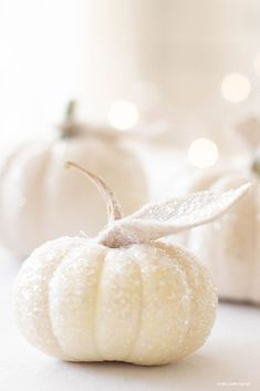 How to Make Glitter Pumpkins is so easy with just a few steps. These white glitter pumpkins make the perfect glitter pumpkin centerpiece for Fall. Also, create this craft and make mini glitter pumpkins. #pumpkins #pumpkincrafts #crafts #minipumpkins #glitterpumpkinsdiy