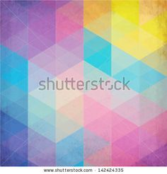 Textured vintage rainbow vector triangles background - stock vector
