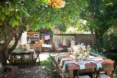 Wide shot of the backyard setup for the #mint and #pink #crossfit #happitree themed #babyshower
