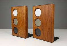 Beautiful Walnut and Ceramic Bookends by Gordon and Jane Martz, 1950s | From a unique collection of antique and modern bookends at https://www.1stdibs.com/furniture/more-furniture-collectibles/bookends/