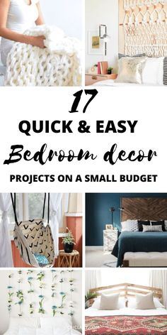 17 Stunning DIY projects for your bedroom. DIY home decor for teens and adults. Best romantic bedroom decor ideas and boho bedroom decor including tufted headboards and Tumblr bedroom decor. You can easily do this DIY home decor on a budget using Dollar Stores items and more! Pin this for reference! Diy Projects For Your Bedroom, Diy Home Decor For Teens, Bedroom Decor For Teen Girls, Home Decor Hacks, Diy Home Decor On A Budget, Cute Home Decor, Teen Girl Bedrooms, Decor Ideas, Tumblr Bedroom Decor