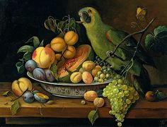 stilllifequickheart:  Leopold Stoll Still Life with Fruit and Green Parrot 19th century
