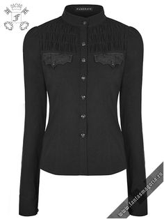 Gothic style, black polyester&polyamide slightly stretchy fitted women's shirt with synthetic crackled black vegan leather decorations over the chest pocket imitations- design inspired by bat wings