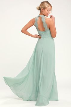 f36b4b48d139 Lulus   Dance All Evening Sage Green Lace Maxi Dress   Size Large   100%  Polyester