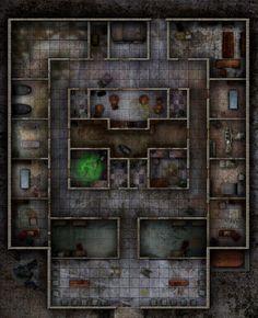 Medical Center by WastelandBattlemaps on DeviantArt Cyberpunk 2020, Metro 2033, Dungeon Tiles, Dungeon Maps, Dungeons And Dragons Homebrew, D&d Dungeons And Dragons, Fallout Map, Call Of Cthulhu Rpg, Pen & Paper