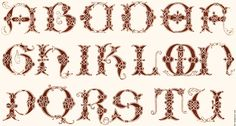Alphabet from a 16th Century manuscript in the Vatical Library. The letters are A B C D E F G H I K L M N P Q R S T Y, so that J, V, Y and Z...