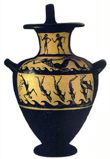 Etruscan Kalpis, 6th B.C. ETRUSCAN SAILORS TURN INTO DOLPHINS ON BRINGING VINE TO ETRURIA