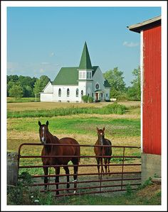Country church-----That's the way it use to be country Church and horses.