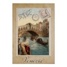 Venice (Venezia) Vintage Postcard Poster