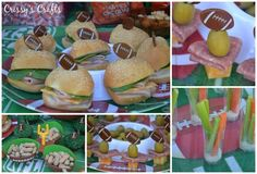 Finger foods at a Football party!  See party ideas at CatchMyParty.com!  #partyideas #football
