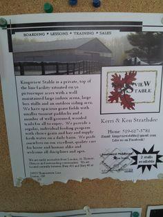 Kingsview Stable Kerri & Ken Strathdee, Dutton, ON poster seen in Greenhawk Lambeth store Sept 2013