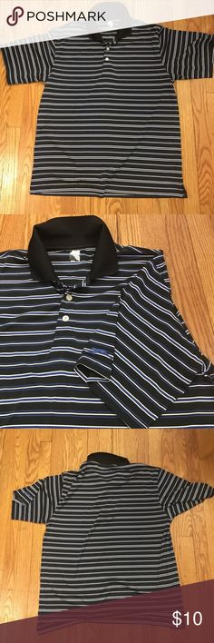 Men's Slazenger Performance Polo Black polo with blue and white stripes . Great condition . Moisture wicking performance type shirt great for golf tennis or leisure . Size Large . No stains Slazenger Shirts Polos