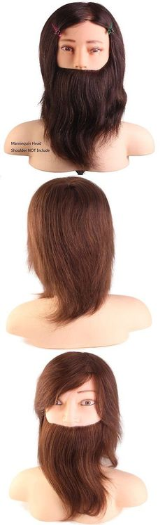 Hair and Makeup Mannequins: 100% Human Hair Male Mannequin Head With Beard,10Cosmetology Mannequin Color BUY IT NOW ONLY: $66.21
