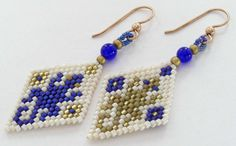 Gecko Earrings, Brick Stitch Asymmetrical Dangly Earrings, Gold-Filled French Earwires, Gift for Her    Gold-Filled French Earwires    Japanese