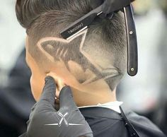 the shark hair designs for men Boys Haircuts With Designs, Cute Boys Haircuts, Hair Designs For Boys, Little Boy Hairstyles, Haircuts For Men, Cool Hairstyles, Boys Haircut Designs, Mens Hair Designs, Hair Tattoo Designs