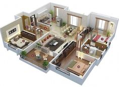 A floor plan, or floorplan, is a virtual model of a building floor plan, depicted from a bird's eye view 3d House Plans, Modern House Floor Plans, Model House Plan, Modern Bungalow House, House Layout Plans, Home Design Floor Plans, Family House Plans, Dream House Plans, Small House Plans