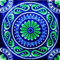 DE06 Mexican Talavera Tile Mosaic 4x4 Tiles Clay Tile Coaster Mural Ceramic Handmade 90 Tiles via Etsy