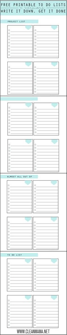 Four different to do lists for projects, grocery lists and anything else that needs to be done! 4 FREE Printable To Do Lists via Clean Mama