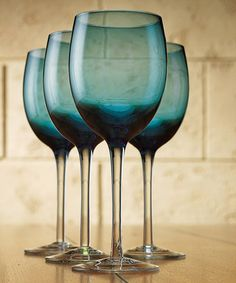 Take a look at this Blue Toscana 12-Oz. Wine Glass - Set of Four by Home Essentials and Beyond on #zulily today! $20 !!