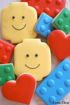 The Baking Sheet: Lego Cookies Batman Cookies, Lego Cookies, Lego Birthday Party, Birthday Cookies, Cake Birthday, Boy Birthday, Sugar Cookie Royal Icing, Sugar Cookies, Cartoon Cookie
