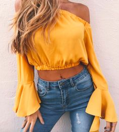 Pin: Heatonminded | Concert Outfit | Yellow Off Shoulder | Summer
