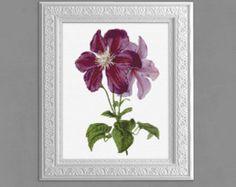 Cross Stitch Pattern, Clematis Cross Stitch Pattern, Clematis Cross Stitch Chart, Embroidery, 14 ct,  Purple Floral Xstitch Pattern, cs007