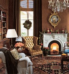 In this New Orleans library, walls glazed brown to resemble leather form a dramatic backdrop for comfortable furnishings and an antique serape rug. Magnolia garland and wreaths lend festive Southern elegance to this masculine room. Masculine Room, Shade Grass, English Decor, Interior Decorating, Interior Design, Decorating Ideas, Classic Living Room, Living Area, Living Rooms
