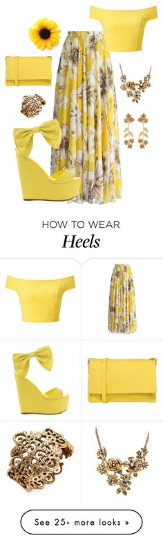 """hello world"" by crafty-syko on Polyvore featuring Privileged, Miss Selfridge, Orciani, WithChic, Oscar de la Renta, Jennifer Behr, PopsOfYellow and NYFWYellow How To Wear Heels, Behr, Summer Wear, Miss Selfridge, Hawaii, Fashion Show, Crafty, Spring, Womens Fashion"