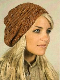 Free pattern for slouchy hat. Easy knit. Can even use round needles the whole time.