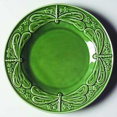 Salad Plate in the Dragonfly (green) pattern by Bordallo Pinheiro