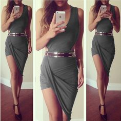 Grey Plain False 2-in-1 Irregular Cut Out Mini Dress