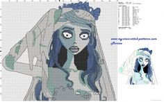 Emily the corpse bride cross stitch pattern