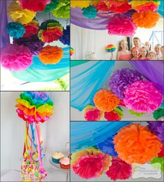 Twins Parties} 2 parties in 1 day – Part The Rainbow Birthday Party great rainbow pom pom ideas . love the streamers coming out of the rainbow pom pom. love the streamers coming out of the rainbow pom pom. Rainbow Parties, Rainbow Birthday Party, Rainbow Theme, 1st Birthday Parties, Birthday Table, Rainbow Nursery, Diy Birthday, Birthday Ideas, Fiesta Little Pony