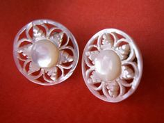 Vintage Carved Mother of Pearl MOP Flower Screw Back Earrings Dainty Feminine Jewelry Floral Cut Out Bride Earrings by dazzledbyvintage on Etsy