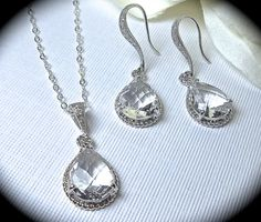 Sterling Silver Necklace and Earring SET - Clear -Bridal jewelry -  looks like Diamonds - Beautiful braided teardrops - Brides Jewelry set - on Etsy, $49.99
