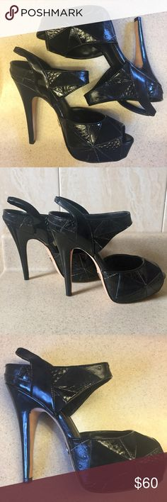 🖤Bebe Platform Peep-toe Pumps🖤 Stylish pair of Bebe platform peep-toe pumps with a leather and suede geometric design. Easy to wear and comfortable thanks to the platform design! A great addition to your wardrobe; looks great with jeans, leggings, dresses, skirts, shorts, etc. Stylish design & comfort! Worn twice. bebe Shoes Platforms