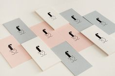 Pastel coloured and black block foiled business cards for trend watching company f32 designed by Blok