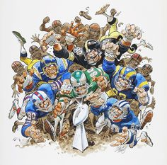 "Jack Davis Battle for the Lombardi Trophy"" Illustration Original Art (NFL Properties, c. Football Art, Vintage Football, Football Stuff, Sport Football, Football Helmets, Travis Scott, Chicago Bears, Drake, Rugby"