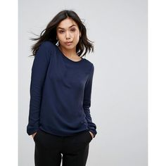 Vero Moda Long Sleeve T-Shirt ($14) ❤ liked on Polyvore featuring tops, t-shirts, navy, longsleeve t shirts, navy blue tee, blue long sleeve t shirt, navy blue jersey and long sleeve jersey