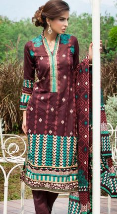 Brown Cotton Lawn Salwar Kameez Dress $49.99 DESIGNER LAWN 2014 Pakistani Indian Dresses Online, Men Women Clothing and Shoes | PakRobe.com