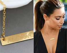 Name Necklace, Bar Necklace Engraved, Personalized Necklace Bar, Gold, Silver Rose Gold Name Plate Necklace by malizbijoux. Explore more products on http://malizbijoux.etsy.com