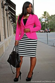 Curves and Confidence | Inspiring Curvy Women One Outfit At A Time: Work It!: Striped Pencil Skirt