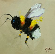 Whimsical Fine Art by Roz Bee Painting, Painting & Drawing, Watercolor Paintings, Bee Art, Animal Paintings, Art Inspo, Art Drawings, Art Projects, Canvas Art