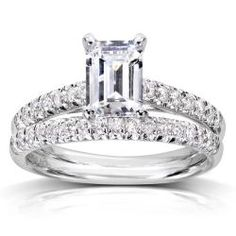@Overstock - Emerald-cut diamond bridal rings set14-karat white gold jewelry Click here for ring sizing guidehttp://www.overstock.com/Jewelry-Watches/14k-White-Gold-1-1-3ct-TDW-Diamond-Bridal-Ring-Set-H-I-SI1-SI2/6753486/product.html?CID=214117 $4,121.99
